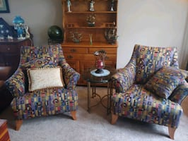 Elegant High Back Armchairs with (3) Accent Pillows