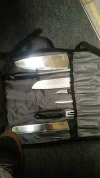 grey stainless steel knive set