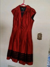 red and black v-neck cap-sleeved dress Falls Church, 22041