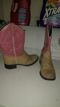 pair of red and brown boots