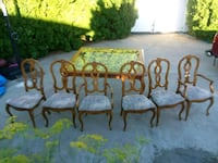 French provincial wood table with 6 chairs  Spokane, 99208