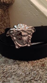 Silver and black Versace belt
