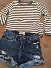 Abercrombie girls jean shorts and long sleeved shirt Mississauga, L4Y 1G4