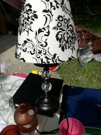 black wooden base cone shape black and white floral table lamp Fort Pierce, 34951