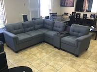 (••FABRIC SECTIONAL SOFA WITH STORAGE CONSOLE SALE••) Mississauga