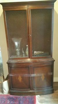 brown wooden cabinet with hutch 787 km