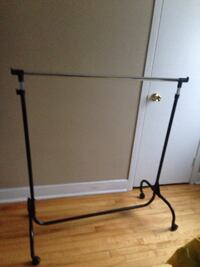 black and grey clothes rack