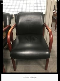 black leather padded brown wooden armchair Markham, L3R 4X4