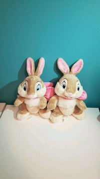 two pink and white rabbit plush toys 40 km