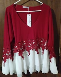 red and white floral long sleeve dress Washington, 20024