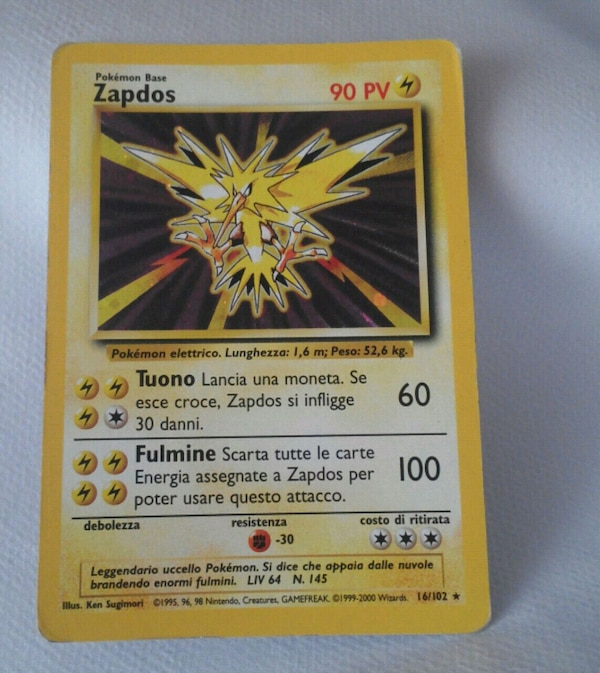 Carta Pokemon Zapdos leggendario set Base 1999