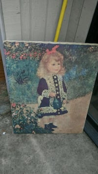 blonde haired female in blue dress holding watering can painting Santa Rosa, 95409