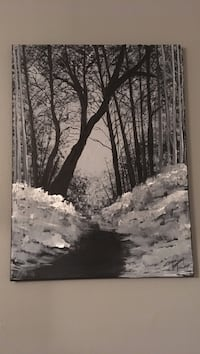 pathway between plants and trees painting