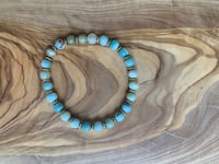 beaded blue and brown necklace 906 mi