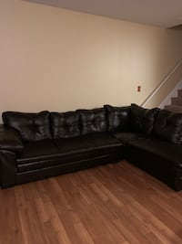 Chocolate brown faux leather sectional sofa Severn