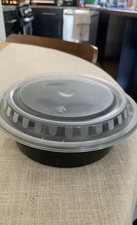 "32oz black, 7.25"" round microwavable heavy weight food container +lid"