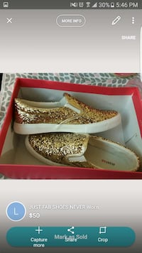 gold glittered just fab slip on sneakers Toronto