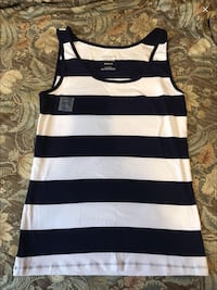 white and navy blue stripped tank top