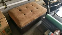 brown wooden framed brown fabric padded sofa Kitchener