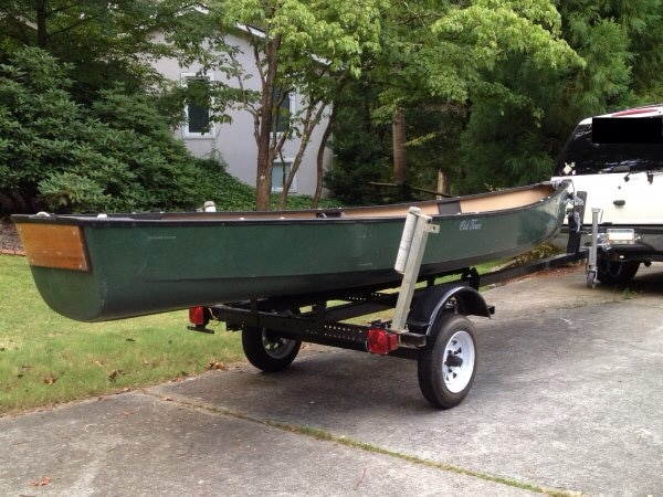 17' Old Town Discovery Sport Flat back Canoe w/ 3 5HP NISSAN Motor and 17'  Trailer