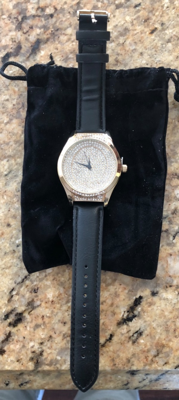 cc6a271cf Vice Versa Womens Gold Crystal Face Watch With Black Leather