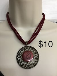 Burgundy velvet chain necklace with Disk Pendant, Excellent Chesapeake, 23320