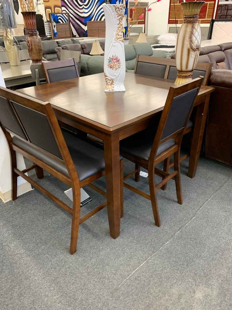 used rectangular brown wooden table with four chairs dining set for rh tr letgo com