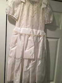 Little Girl's White Satin and Lace Dress Ladson