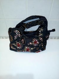 hobo bag in pelle blu con perline