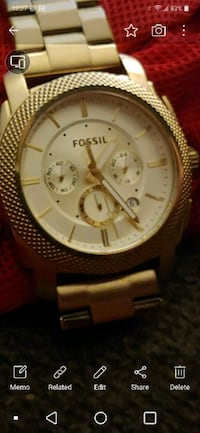 round fossil chronograph watch with l 238 mi