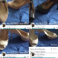 pairs of black, brown and white heeled shoes photo collage Calgary, T2X