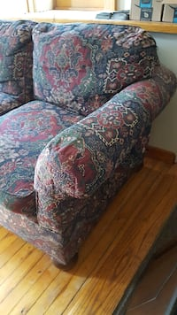 red and brown floral sofa chair Syracuse