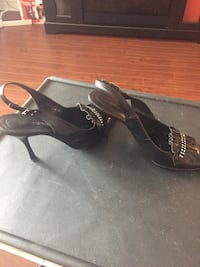 Black leather shoes with Chrystal's details. Size 37  Vaughan, L4J