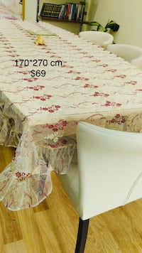 Rectangular white and red floral table clothe  Cranston, 02910