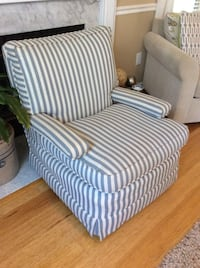 white and grey stripe suede sofa chair