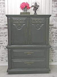 Chest of Drawers Armoire, Distressed Grey Cottage Style, Shabby Farmhouse Chic Livonia