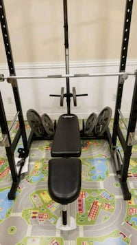 Marcy power rack w/bench and weights