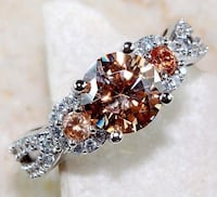 Rare Padparadscha Sapphire & White Sapphire Ring sz 6&8 Stamped 925 Sterling Silver SALE!!!!!!!! Coleman, 76834