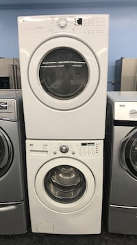 white front-load clothes washer and dryer set Toronto, M3J