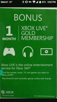 Selling a 1 month Xbox one gold membership  District Heights