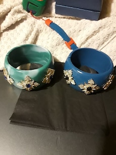 two teal and blue bangles