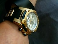 round gold-colored chronograph watch with black leather strap Federal Way, 98003