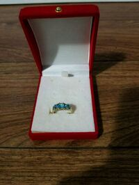 Womens gold ring with blue gems Edmonton, T5E 3Z6