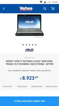 ASUS N55  GAMİNG LAPTOP..İ7  -16GB RAM -4GB EKRAN K..120 SSD- FULL HD  Yurt, 01170