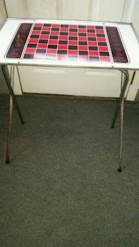 Vintage folding checkers/chess fold up table