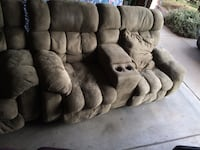 Brown suede 3-seat recliner sofa and love seat Firestone, 80504