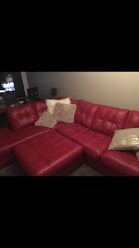 red leather sectional sofa with ottoman Montréal, H2K