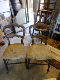 two brown wooden framed white padded chairs Antioch, 94509