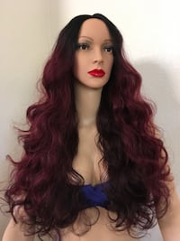 28 inch long wavy layered ombré burgundy brown dark roots heat resistant low medium heat synthetic very high quality silk smooth texture  Las Vegas, 89144