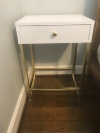 Two White Nightstands / End Tables with Drawer